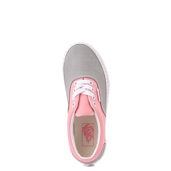 alternate view Vans Era Checkerboard Skate Shoe - Big Kid - Drizzle Gray / PinkALT2