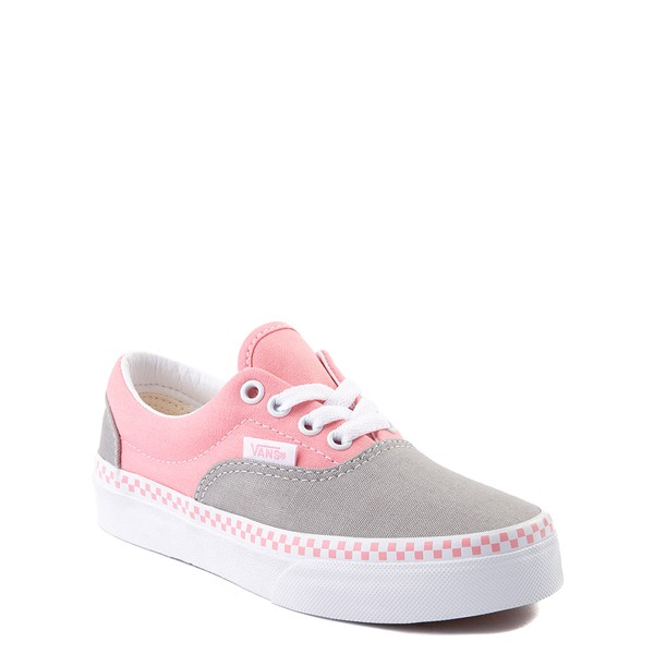 alternate view Vans Era Checkerboard Skate Shoe - Big Kid - Drizzle Gray / PinkALT5