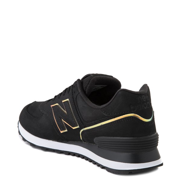alternate view Womens New Balance 574 Athletic Shoe - Black / IridescentALT1