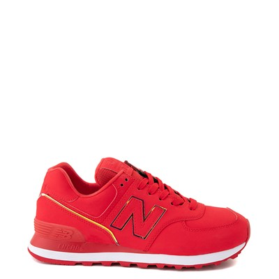 Main view of Womens New Balance 574 Athletic Shoe - Red / Iridescent