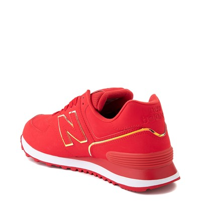 Alternate view of Womens New Balance 574 Athletic Shoe - Red / Iridescent