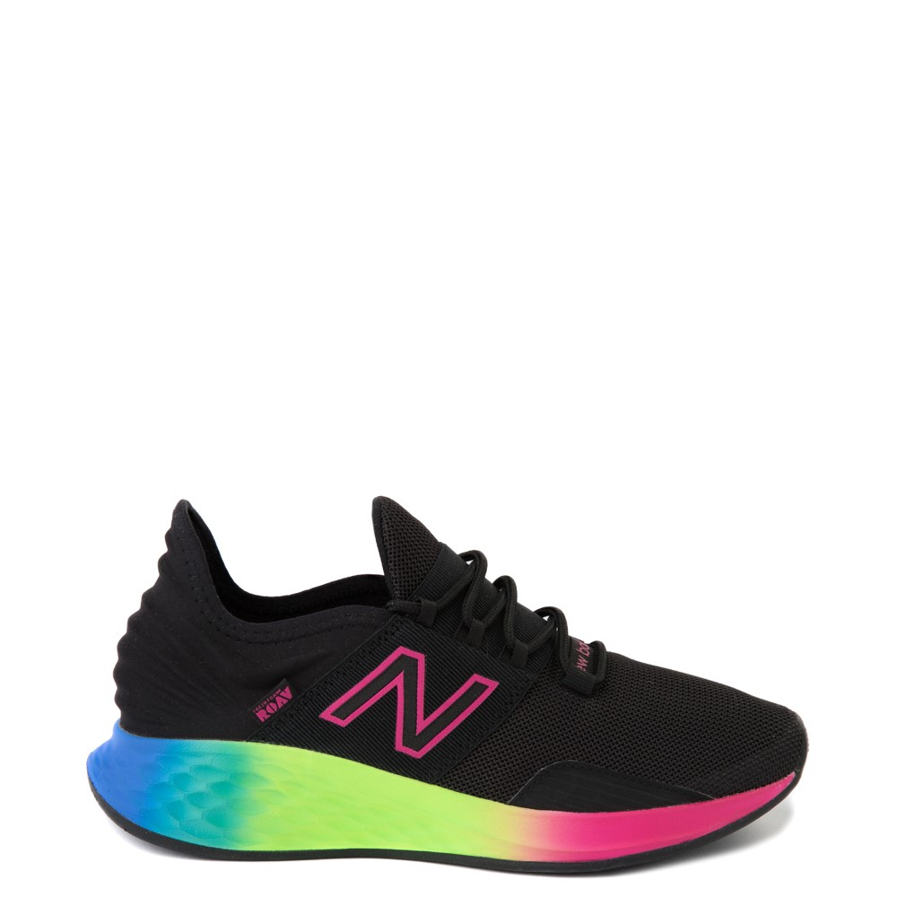 Womens New Balance Fresh Foam Roav Athletic Shoe - Black / Rainbow