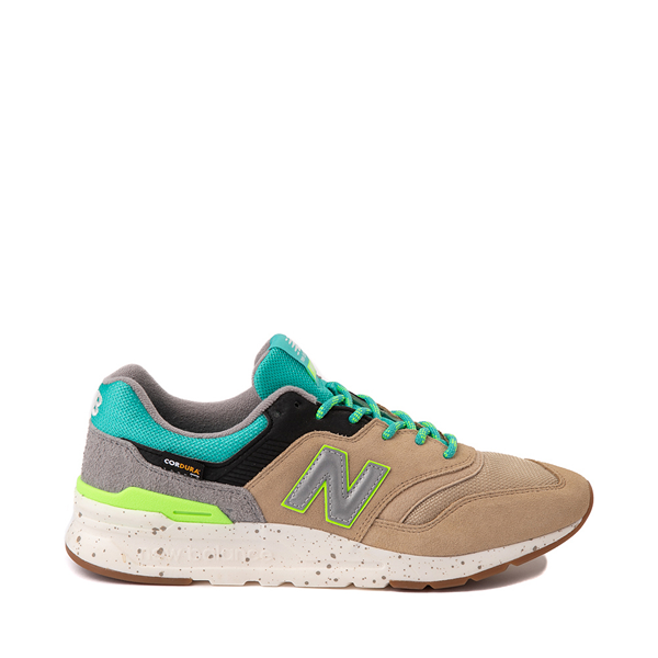 Main view of Mens New Balance 997H Athletic Shoe - Tan / Turquoise / Lime