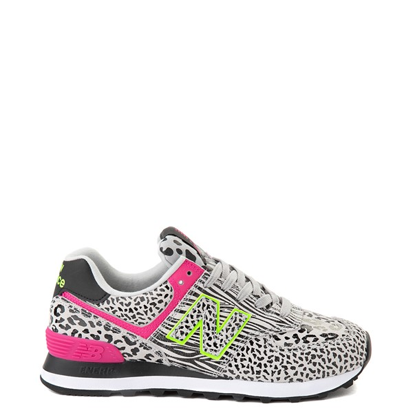 Main view of Womens New Balance 574 Animal Print Athletic Shoe - Black / Neon Mint / Pink