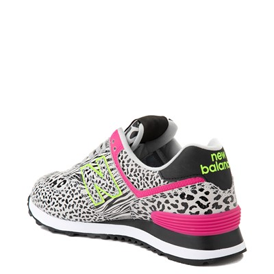 Alternate view of Womens New Balance 574 Animal Print Athletic Shoe - Black / Neon Mint / Pink