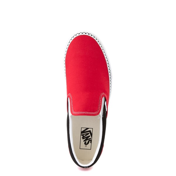 alternate view Vans Slip On Checkerboard Skate Shoe - Red / BlackALT2