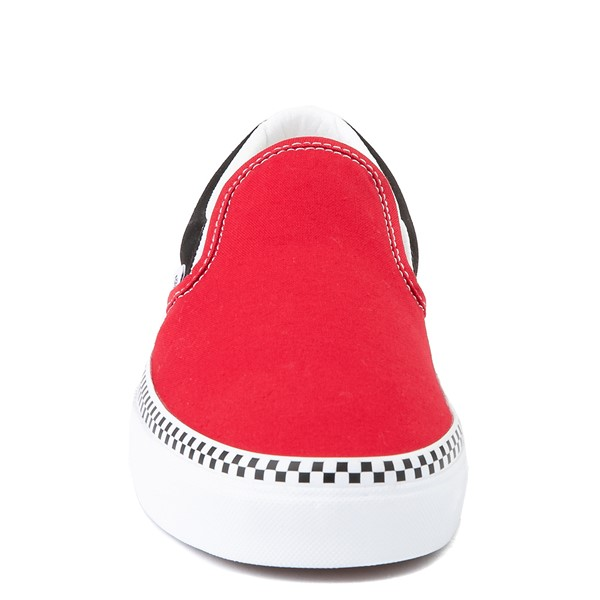 alternate view Vans Slip On Checkerboard Skate Shoe - Red / BlackALT4