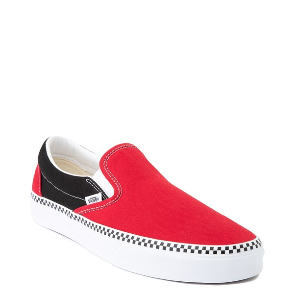 alternate view Vans Slip On Checkerboard Skate Shoe - Red / BlackALT5
