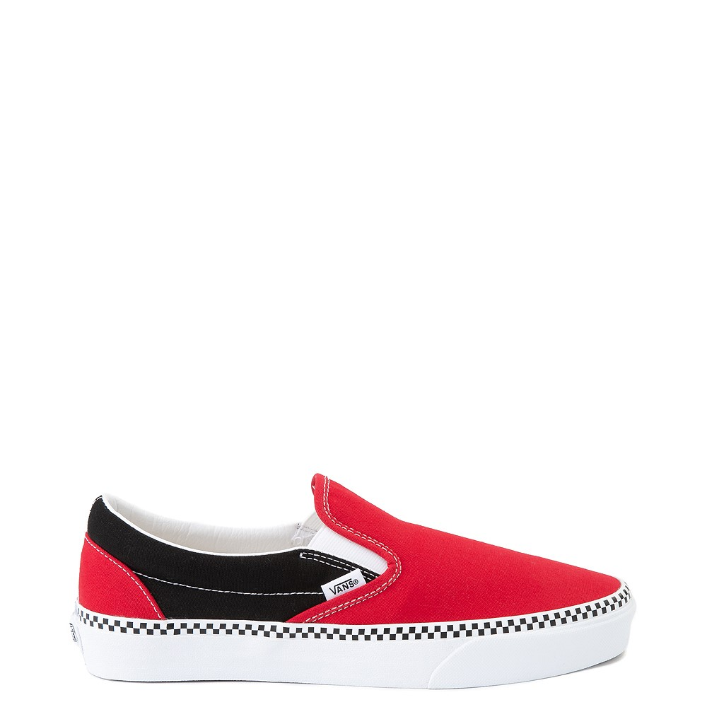 Vans Slip On Checkerboard Skate Shoe - Red / Black