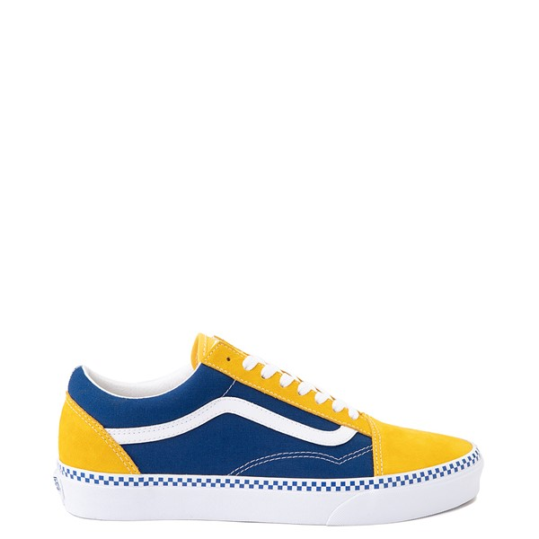 Main view of Vans Old Skool Checkerboard Skate Shoe - Spectra Yellow / True Blue