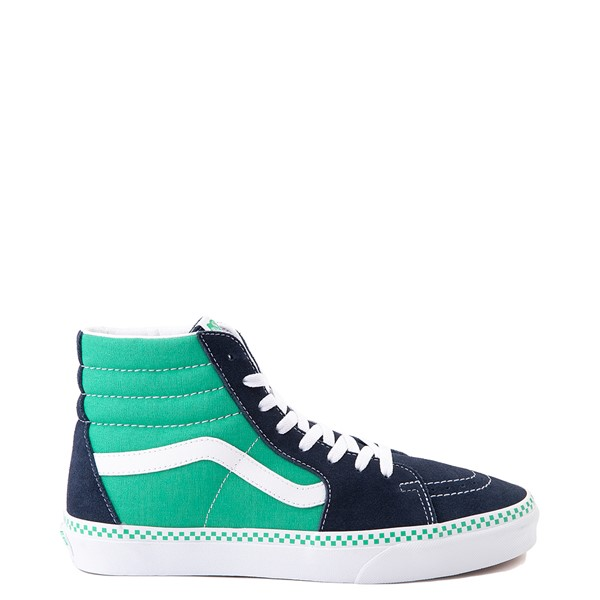 Main view of Vans Sk8 Hi Checkerboard Skate Shoe - Dress Blues / Mint