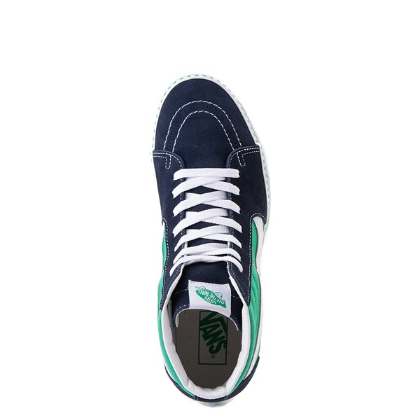 alternate view Vans Sk8 Hi Checkerboard Skate Shoe - Dress Blues / MintALT2