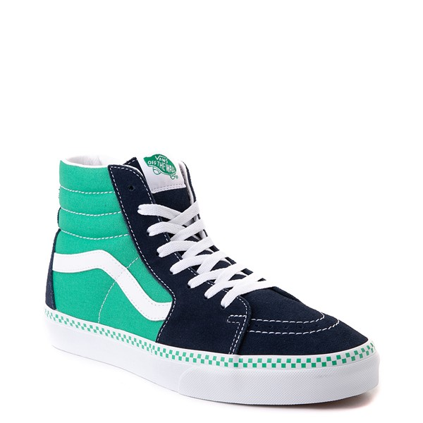 alternate view Vans Sk8 Hi Checkerboard Skate Shoe - Dress Blues / MintALT5