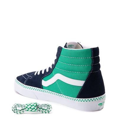 Alternate view of Vans Sk8 Hi Checkerboard Skate Shoe - Dress Blues / Mint