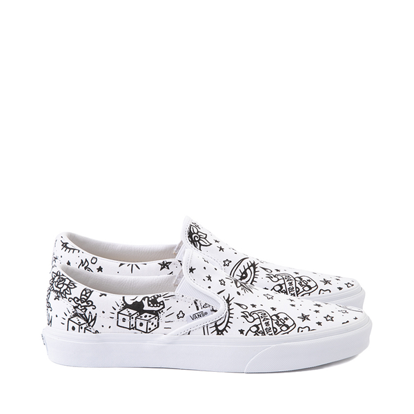 Main view of Vans Slip On U-Color Tattoo Skate Shoe - White