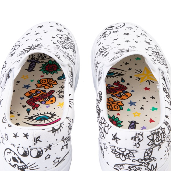 alternate view Vans Slip On U-Color Tattoo Skate Shoe - WhiteALT6