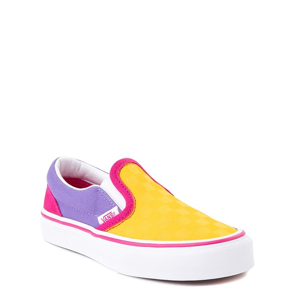 alternate view Vans Slip On Checkerboard Pop Skate Shoe - Little Kid - Yellow / Purple / PinkALT1