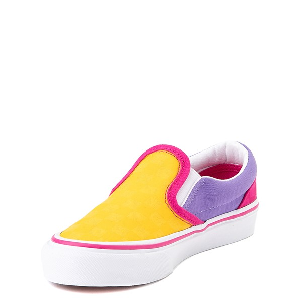 alternate view Vans Slip On Checkerboard Pop Skate Shoe - Little Kid - Yellow / Purple / PinkALT3