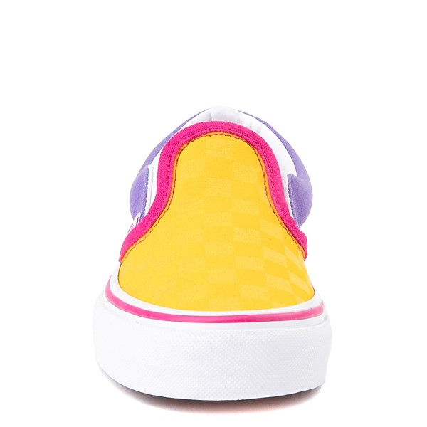 alternate view Vans Slip On Checkerboard Pop Skate Shoe - Little Kid - Yellow / Purple / PinkALT4