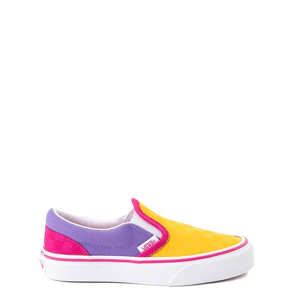 Main view of Vans Slip On Checkerboard Pop Skate Shoe - Big Kid - Yellow / Purple / Pink