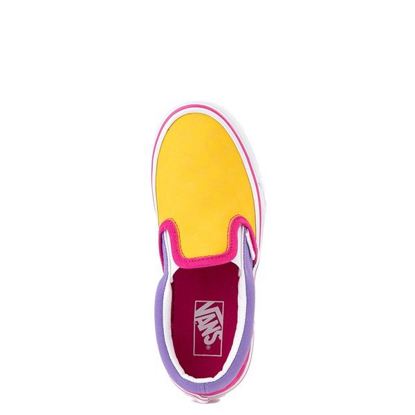 alternate view Vans Slip On Checkerboard Pop Skate Shoe - Big Kid - Yellow / Purple / PinkALT2