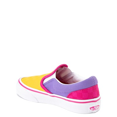 Alternate view of Vans Slip On Checkerboard Pop Skate Shoe - Big Kid - Yellow / Purple / Pink