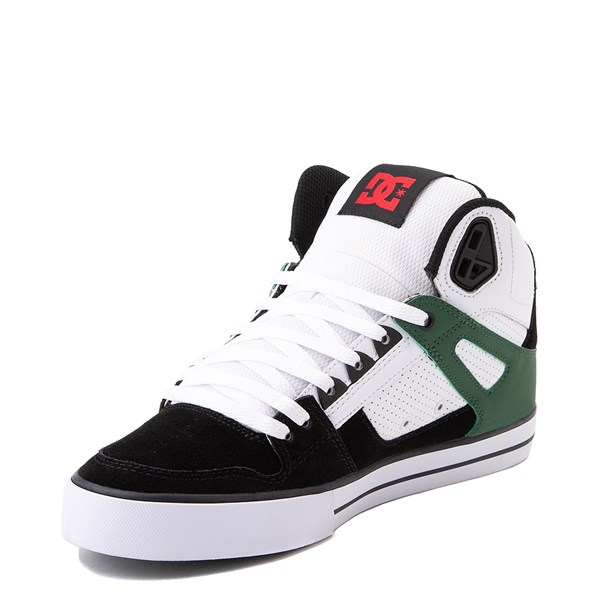alternate view Mens DC Pure Hi SE Skate Shoe - White / Green / BlackALT3
