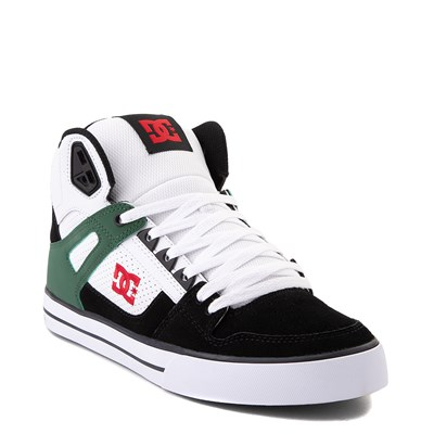 Alternate view of Mens DC Pure Hi SE Skate Shoe - White / Green / Black