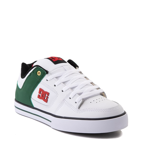 alternate view Mens DC Pure SE Skate Shoe - White / GreenALT1