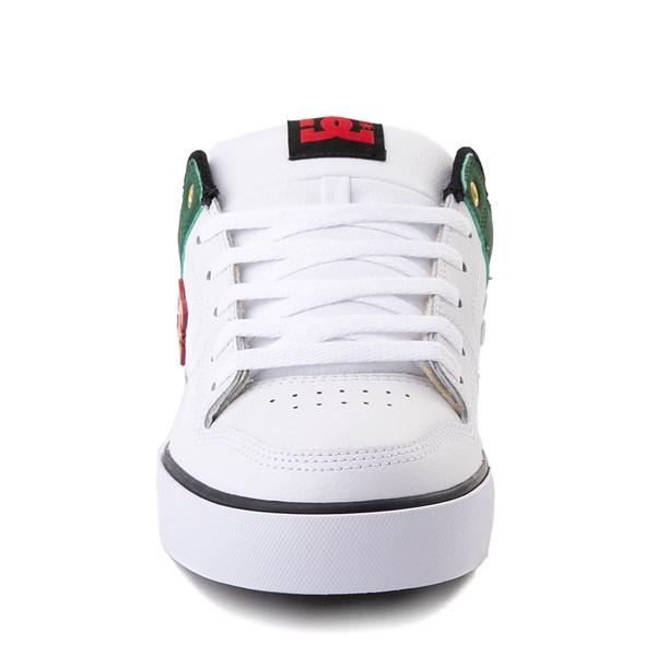 alternate view Mens DC Pure SE Skate Shoe - White / GreenALT4