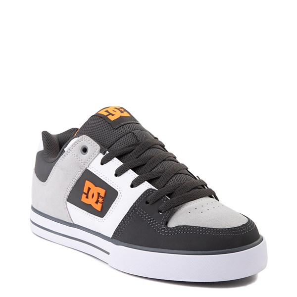 alternate view Mens DC Pure Skate Shoe - Dark Gray / OrangeALT1
