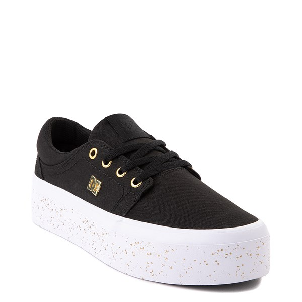 alternate view Womens DC Trase TX SE Platform Skate Shoe - Black / GoldALT1