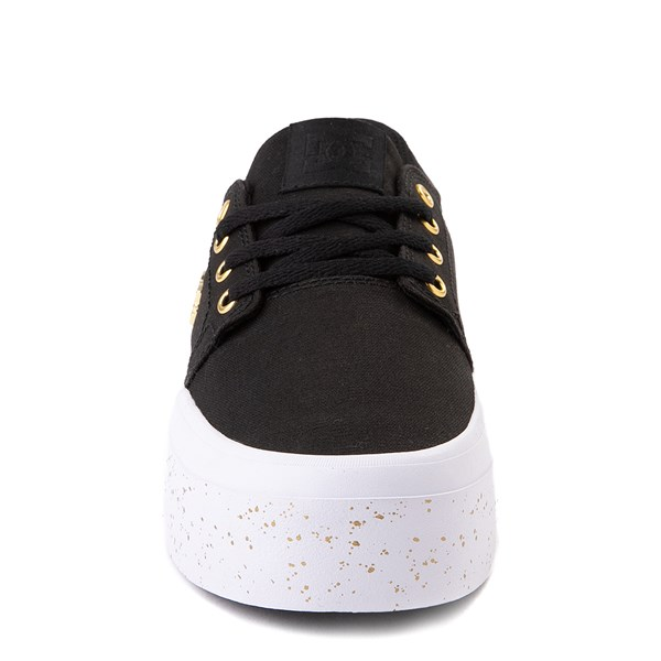 alternate view Womens DC Trase TX SE Platform Skate Shoe - Black / GoldALT4