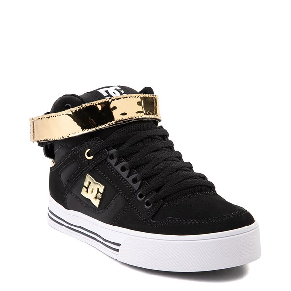 alternate view Womens DC Pure Hi V Skate Shoe - Black / GoldALT1
