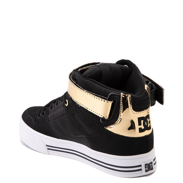 alternate view Womens DC Pure Hi V Skate Shoe - Black / GoldALT2