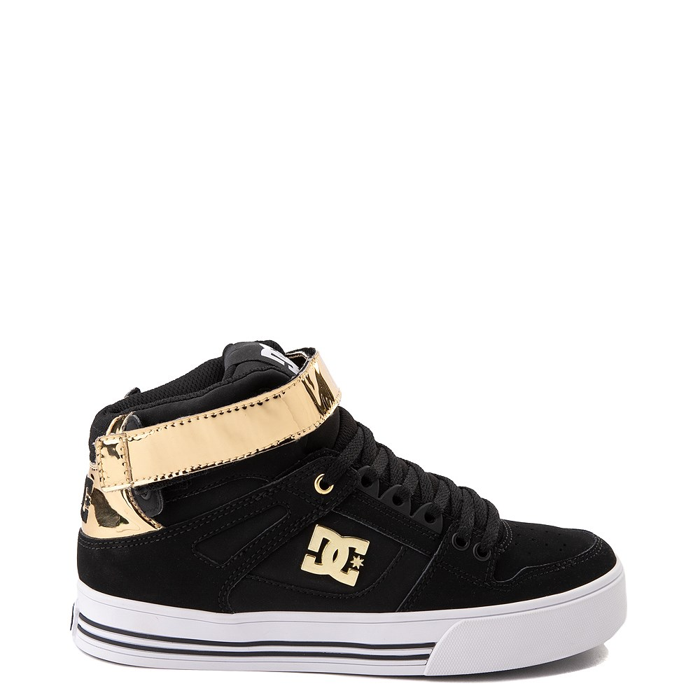 Womens DC Pure Hi V Skate Shoe - Black / Gold