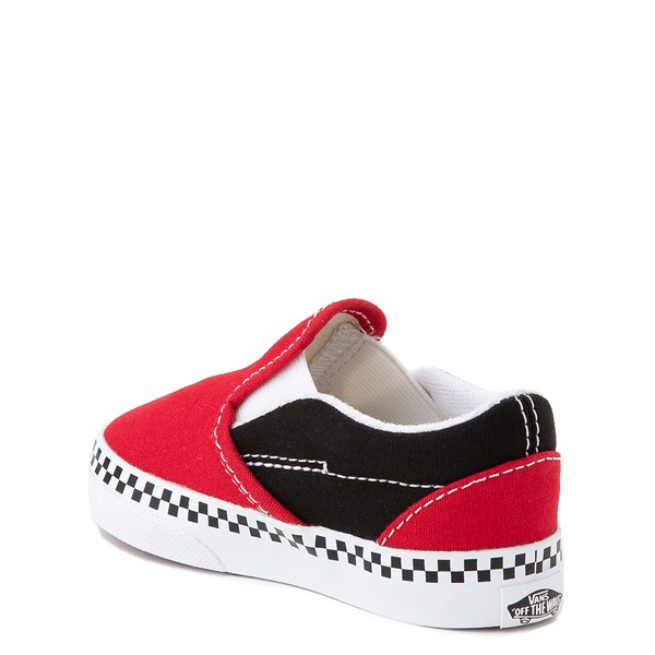 alternate view Vans Slip On Checkerboard Skate Shoe - Baby / Toddler - Red / BlackALT1