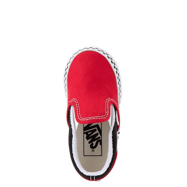 alternate view Vans Slip On Checkerboard Skate Shoe - Baby / Toddler - Red / BlackALT2