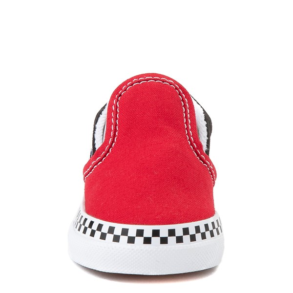 alternate view Vans Slip On Checkerboard Skate Shoe - Baby / Toddler - Red / BlackALT4