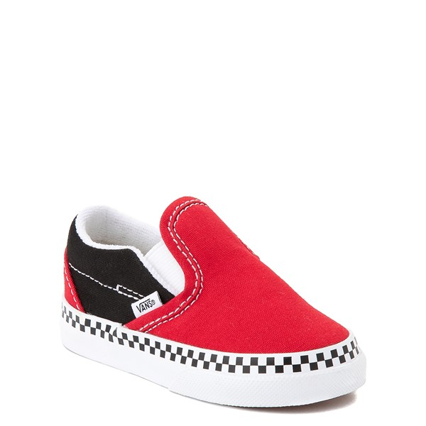 alternate view Vans Slip On Checkerboard Skate Shoe - Baby / Toddler - Red / BlackALT5