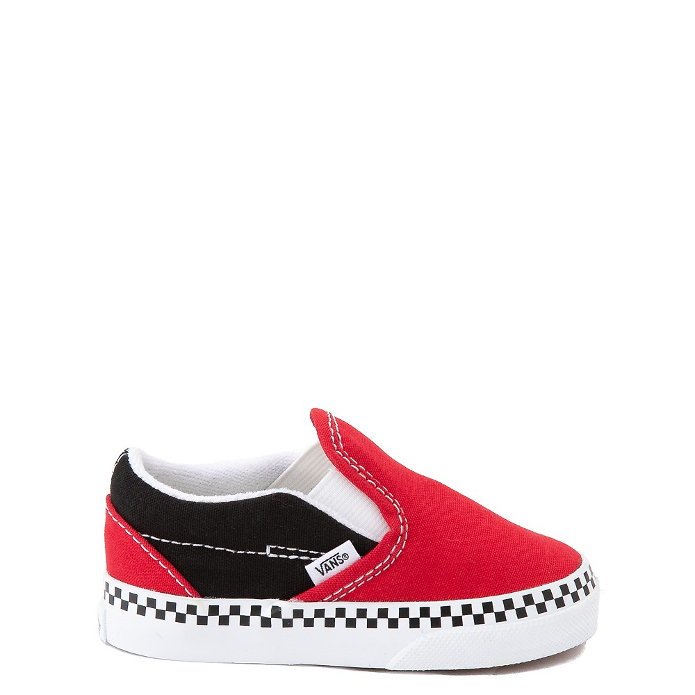 Vans Slip On Checkerboard Skate Shoe - Baby / Toddler - Red / Black