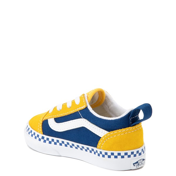 alternate view Vans Old Skool Checkerboard Skate Shoe - Baby / Toddler - Spectra Yellow / True BlueALT1