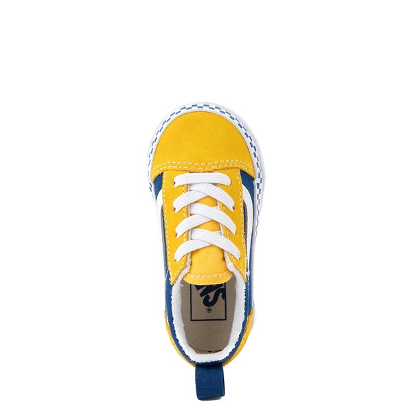 alternate view Vans Old Skool Checkerboard Skate Shoe - Baby / Toddler - Spectra Yellow / True BlueALT2