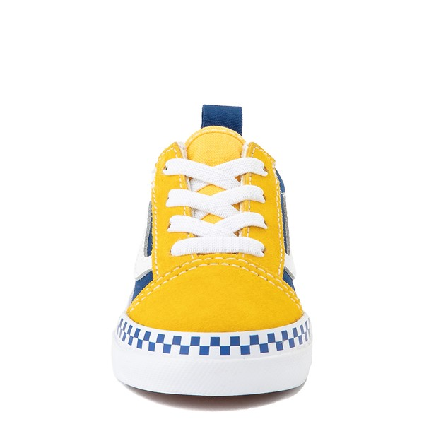 alternate view Vans Old Skool Checkerboard Skate Shoe - Baby / Toddler - Spectra Yellow / True BlueALT4