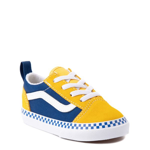 alternate view Vans Old Skool Checkerboard Skate Shoe - Baby / Toddler - Spectra Yellow / True BlueALT5