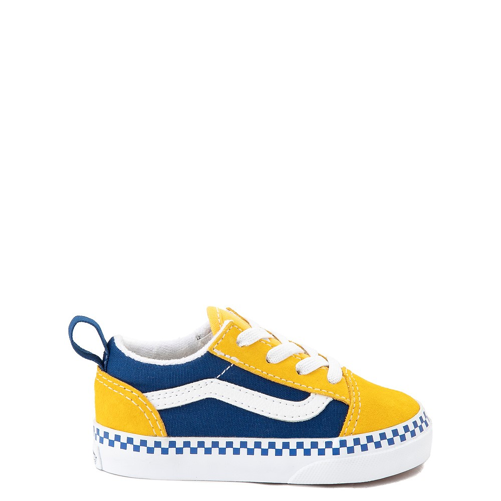 Vans Old Skool Checkerboard Skate Shoe - Baby / Toddler - Spectra Yellow / True Blue