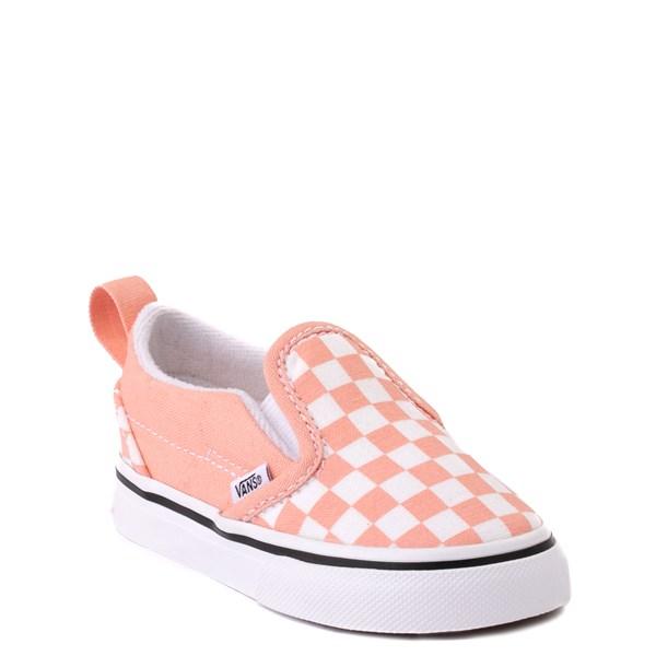 alternate view Vans Slip On V Checkerboard Skate Shoe - Baby / Toddler - SalmonALT1