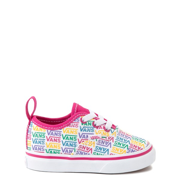 Vans Authentic Rainbow Text Skate Shoe - Baby / Toddler - Pink / Rainbow