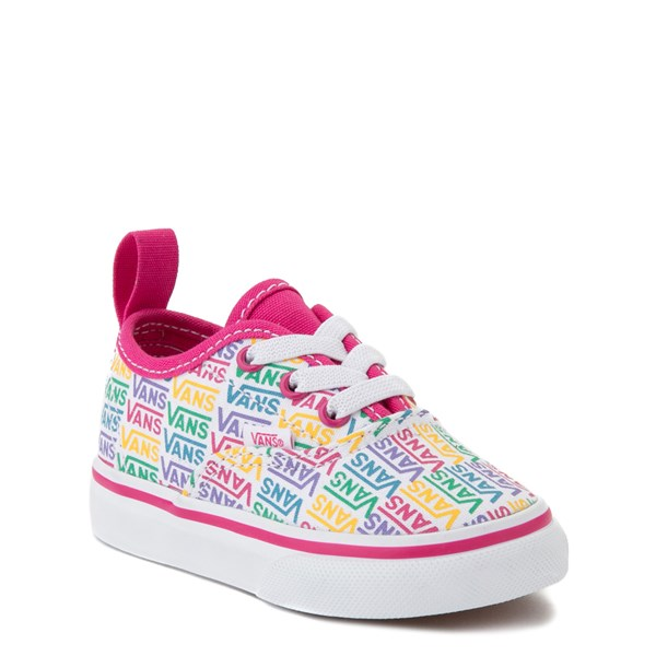 alternate view Vans Authentic Rainbow Text Skate Shoe - Baby / Toddler - Pink / RainbowALT1