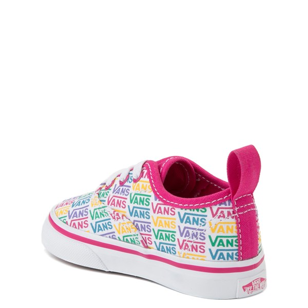 alternate view Vans Authentic Rainbow Text Skate Shoe - Baby / Toddler - Pink / RainbowALT2